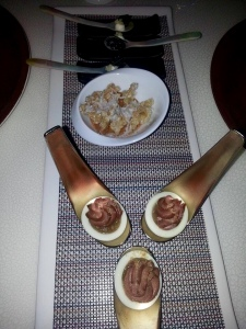 Volver Caviar, Carnitas Popcorn & Deviled Egg Duck Liver Mousse